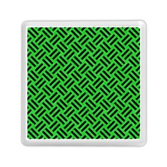 Woven2 Black Marble & Green Colored Pencil (r) Memory Card Reader (square)