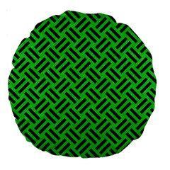 Woven2 Black Marble & Green Colored Pencil (r) Large 18  Premium Round Cushions