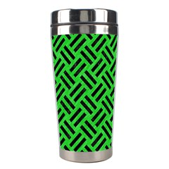 Woven2 Black Marble & Green Colored Pencil (r) Stainless Steel Travel Tumblers