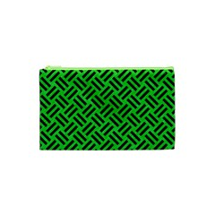 Woven2 Black Marble & Green Colored Pencil (r) Cosmetic Bag (xs)