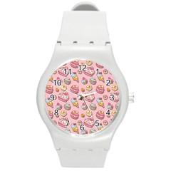 Sweet Pattern Round Plastic Sport Watch (m)