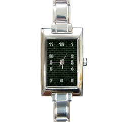 Brick1 Black Marble & Green Leather Rectangle Italian Charm Watch