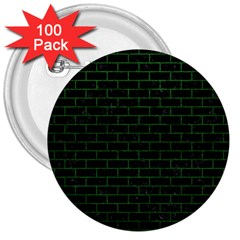 Brick1 Black Marble & Green Leather 3  Buttons (100 Pack)