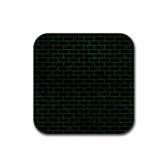 Brick1 Black Marble & Green Leather Rubber Coaster (square)