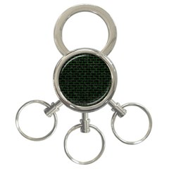 Brick1 Black Marble & Green Leather 3 Ring Key Chains