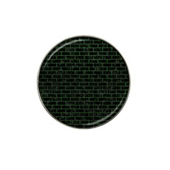 Brick1 Black Marble & Green Leather Hat Clip Ball Marker (10 Pack)