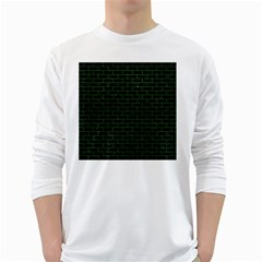 Brick1 Black Marble & Green Leather White Long Sleeve T Shirts