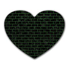 Brick1 Black Marble & Green Leather Heart Mousepads