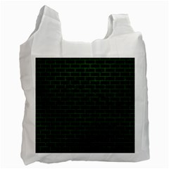 Brick1 Black Marble & Green Leather Recycle Bag (two Side)
