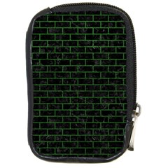Brick1 Black Marble & Green Leather Compact Camera Cases
