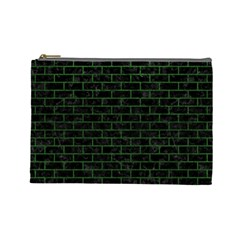 Brick1 Black Marble & Green Leather Cosmetic Bag (large)