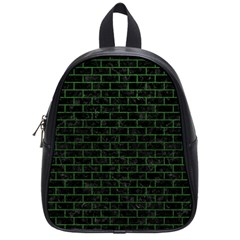 Brick1 Black Marble & Green Leather School Bag (small)