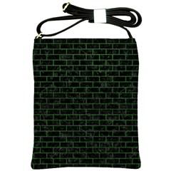 Brick1 Black Marble & Green Leather Shoulder Sling Bags