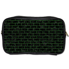 Brick1 Black Marble & Green Leather Toiletries Bags