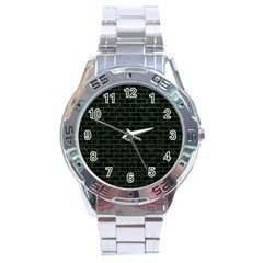 Brick1 Black Marble & Green Leather Stainless Steel Analogue Watch