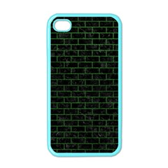 Brick1 Black Marble & Green Leather Apple Iphone 4 Case (color)