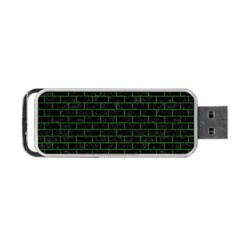 Brick1 Black Marble & Green Leather Portable Usb Flash (one Side)
