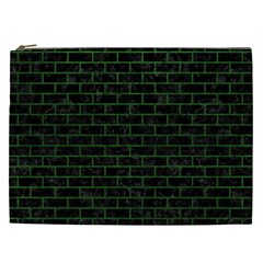 Brick1 Black Marble & Green Leather Cosmetic Bag (xxl)