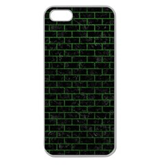 Brick1 Black Marble & Green Leather Apple Seamless Iphone 5 Case (clear)