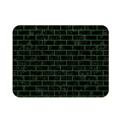 Brick1 Black Marble & Green Leather Double Sided Flano Blanket (mini)