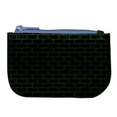 Brick1 Black Marble & Green Leather Large Coin Purse