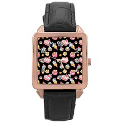 Sweet Pattern Rose Gold Leather Watch