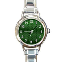 Brick1 Black Marble & Green Leather (r) Round Italian Charm Watch