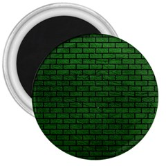 Brick1 Black Marble & Green Leather (r) 3  Magnets