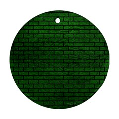 Brick1 Black Marble & Green Leather (r) Ornament (round)