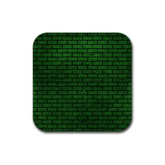 Brick1 Black Marble & Green Leather (r) Rubber Square Coaster (4 Pack)