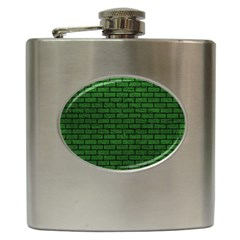 Brick1 Black Marble & Green Leather (r) Hip Flask (6 Oz)