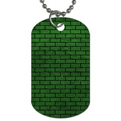 Brick1 Black Marble & Green Leather (r) Dog Tag (two Sides)