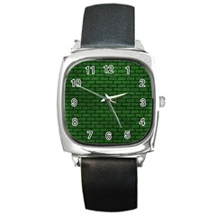 Brick1 Black Marble & Green Leather (r) Square Metal Watch