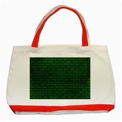 Brick1 Black Marble & Green Leather (r) Classic Tote Bag (red)