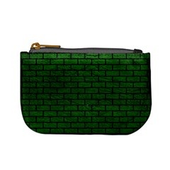 Brick1 Black Marble & Green Leather (r) Mini Coin Purses