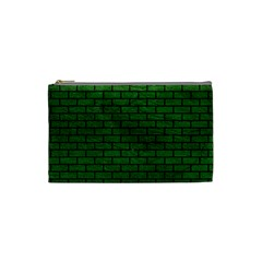 Brick1 Black Marble & Green Leather (r) Cosmetic Bag (small)