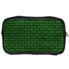 Brick1 Black Marble & Green Leather (r) Toiletries Bags 2 Side