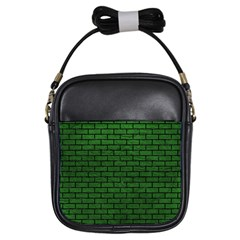 Brick1 Black Marble & Green Leather (r) Girls Sling Bags