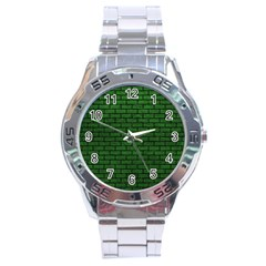 Brick1 Black Marble & Green Leather (r) Stainless Steel Analogue Watch