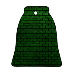 Brick1 Black Marble & Green Leather (r) Ornament (bell)