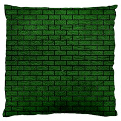 Brick1 Black Marble & Green Leather (r) Large Cushion Case (two Sides)