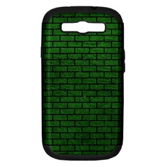 Brick1 Black Marble & Green Leather (r) Samsung Galaxy S Iii Hardshell Case (pc+silicone)