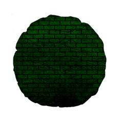 Brick1 Black Marble & Green Leather (r) Standard 15  Premium Round Cushions