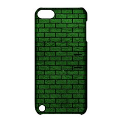 Brick1 Black Marble & Green Leather (r) Apple Ipod Touch 5 Hardshell Case With Stand
