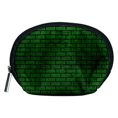 Brick1 Black Marble & Green Leather (r) Accessory Pouches (medium)