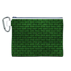 Brick1 Black Marble & Green Leather (r) Canvas Cosmetic Bag (l)