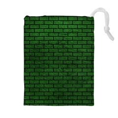 Brick1 Black Marble & Green Leather (r) Drawstring Pouches (extra Large)