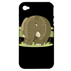 Cute Elephant Apple Iphone 4/4s Hardshell Case (pc+silicone)