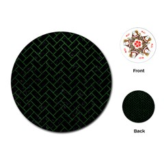 Brick2 Black Marble & Green Leather Playing Cards (round)