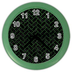 Brick2 Black Marble & Green Leather Color Wall Clocks
